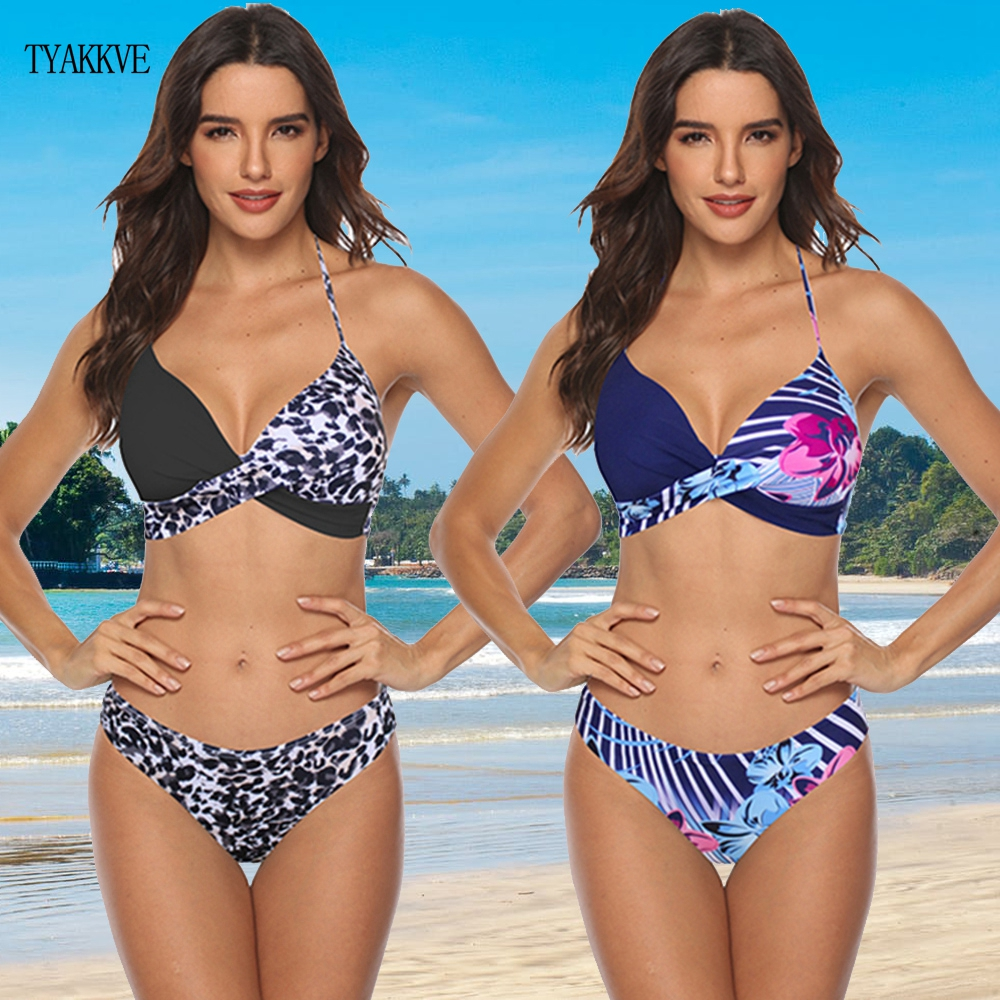 TYAKKVE Sexy 2020 Bikini Set Swimwear Women Leopard Swimsuit Push Up Bikini Plus Size Bathing Suit Halter Beachwear Biquini 3XL
