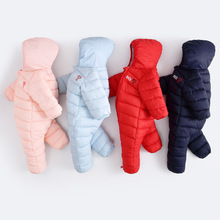 Oeak Baby Winter Thicken Jumpsuit Newborn Hooded Warm Rompers Infant Thermal Outerwear Clothes Boys Girls Solid Tracksuits