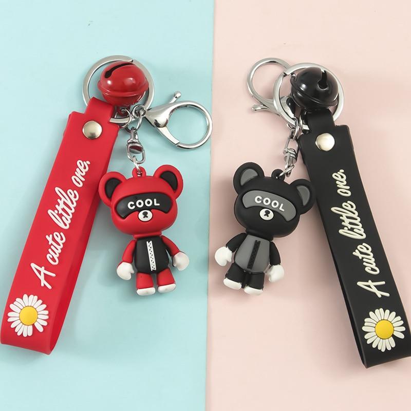 Little Bear Cartoon PVC Soft Rubber Lanyard Key Chain Car Buckle Key Ring Student School Bag Pendant Girl Decoration Gift