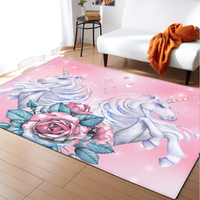 Cartoon Pink Area Rugs Flannel Anti Slip Bedroom Rug Floor Carpet Unicorn Decoration Kids Room Rugs and Carpets for Living Room