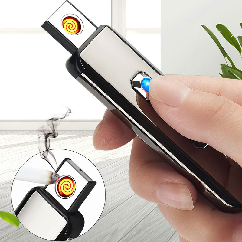 USB Charging Lighter Touch Sensing Windproof Electronic Ultra-Thin Electric Heating Wire Cigarette Lighter Environmental Protect