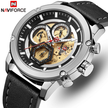 NAVIFORCE Mens Watches Top Brand Luxury Quartz Watch Men Leather Waterproof Wristwatches Calendar Male Clock Relogio Masculino