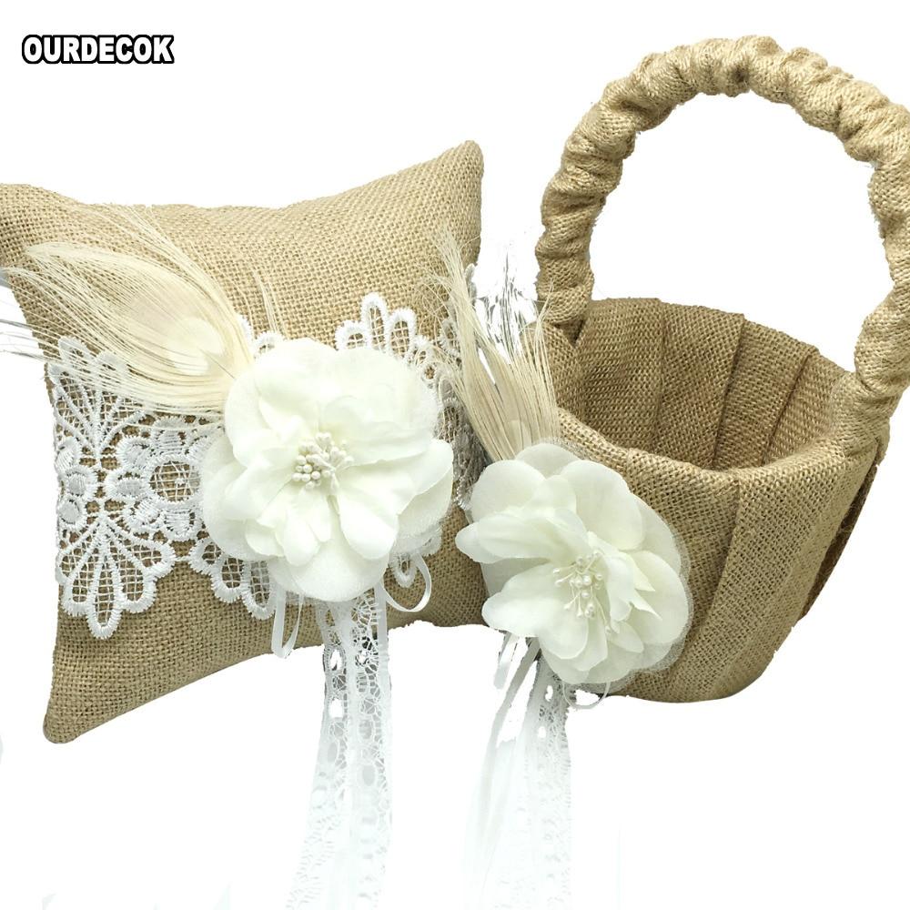 4Pcs set Vintage Hessian Burlap Wedding Guest Book Pen Set Ring Pillow Basket With flower feather