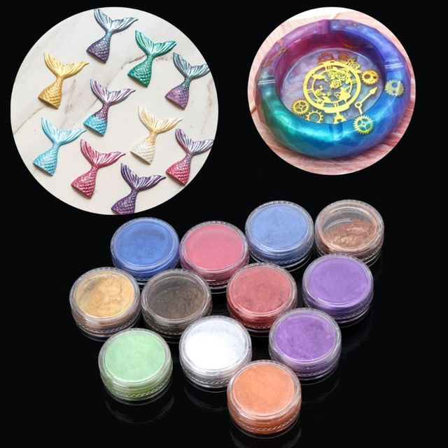 12 Box Slime Dye Powder Mica Pearl Pigment Colorants Soap Candle Resin Jewelry