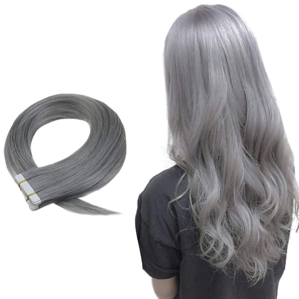 Eseewigs Silver Glue Tape In Hair Extensions Pure Color For Women Skin Weft Professional Hair 24Inch 25g 10Pcs Per Package