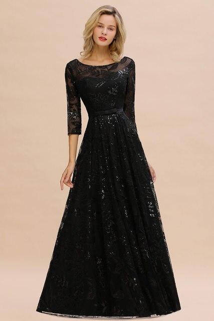 Elegant Black Lace A-line Mother Of The Bride Dresses Modest O-neck 3/4 Sleeves  Wedding Party Dresses Vestido De Madrinha 3