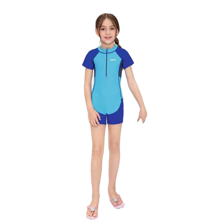 906-One-piece Swimsuit For Children Children Big Boy Short Sleeve Short Sun Protection Clothing One-piece Swimming Suit
