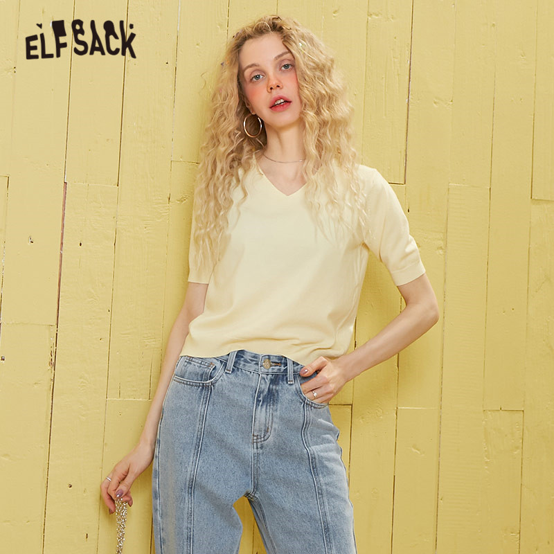 ELFSACK Multicolor Red Solid Minimalist Style Knit Casual T Shirt Women Top 2020 Spring Pure Short Sleeve Ladies Basic Tee