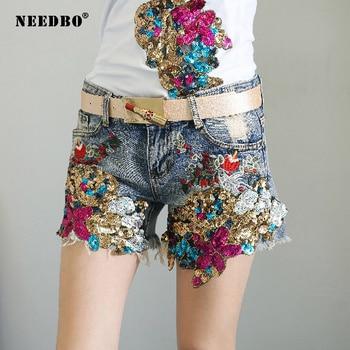 NEEDBO Shorts Women Jeans 2020 Embroidery Sequined Denim Wide Leg Female Caual Summer Ladies