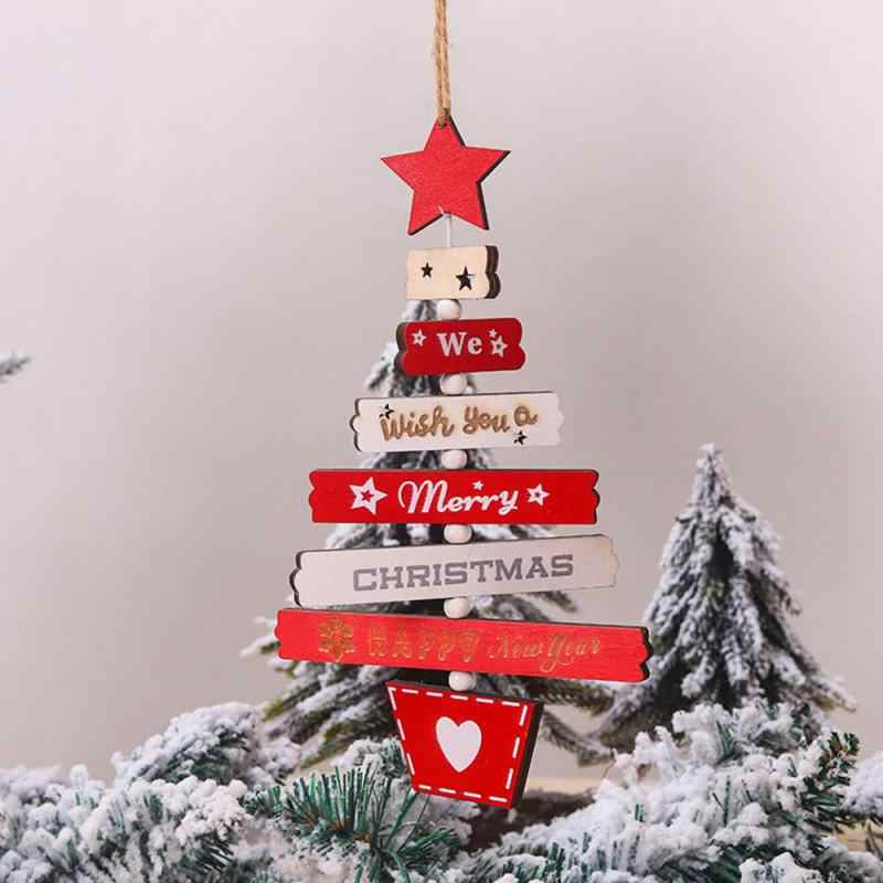 Árbol de Navidad de madera colgante decoración de Navidad para el hogar Decoración de árbol de Navidad ornamento DIY artesanía colgante regalo Año Nuevo Navidad 2020