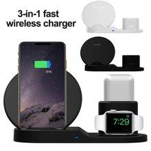 Три в одном Беспроводная зарядка 10 Вт Быстрое беспроводное зарядное устройство для Apple Watch гарнитура для IPhone Xr huawei samsung смартфон