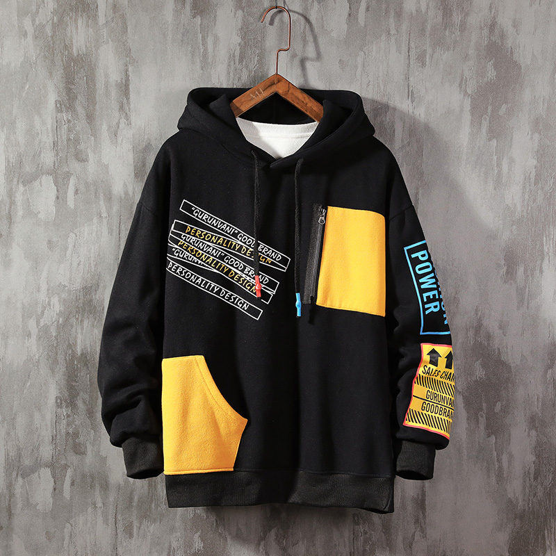 Mnyycxen Men Casual Color Stitching Text Printed Pocket Long Sleeve Fake Two Piece Hooded Drawstring Sweatshirt