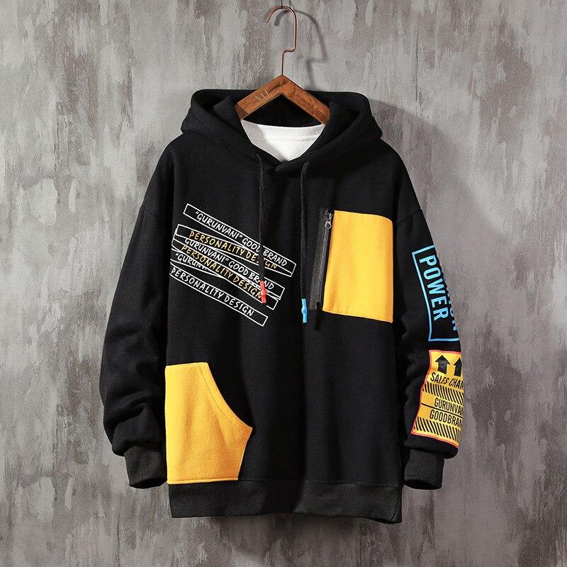 Autumn Large Size patchwork Hoodie Men color block sweatshirt Brand Trend Contrast Color Stitching Long Sleeve Men