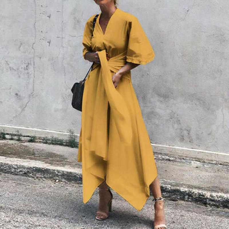 Litthing yaz elbisesi kadınlar Vintage seksi V boyun asimetrik yüksek bel uzun Maxi elbise artı boyutu Sundress parti Vestido