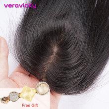 8 дюймов прямые шелковые Базовые волосы Топпер парик для женщин натуральный цвет волос кусок клип в наращивание волос парик Remy шиньон