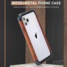 الخشب الوفير الألومنيوم معدن الهجين حقيبة لهاتف أي فون 11 11Pro 11Pro ماكس غطاء الهاتف آيفون X Xs XR Xs ماكس جراب هاتف