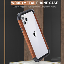 Wood Bumper Aluminum Metal Hybrid Case for iPhone 11 11Pro 11Pro Max Phone Cover for iPhone X Xs XR Xs Max Phone Case