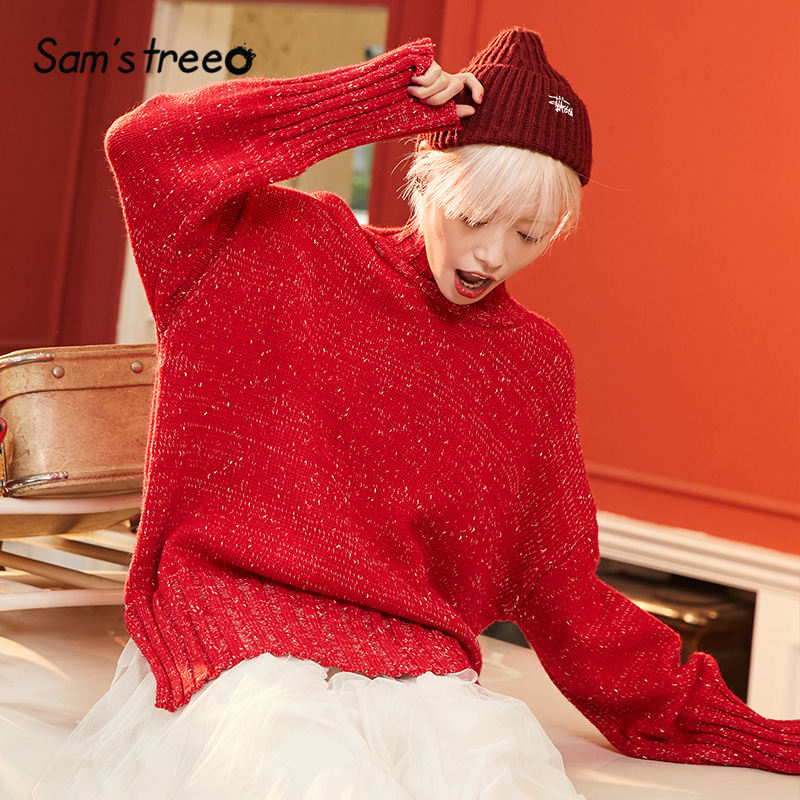 SAM'S TREE Red Solid Minimalist Knit Christmas Pullover Sweater Women 2020 Winter Pure Mohair Full Sleeve Casual Female Tops