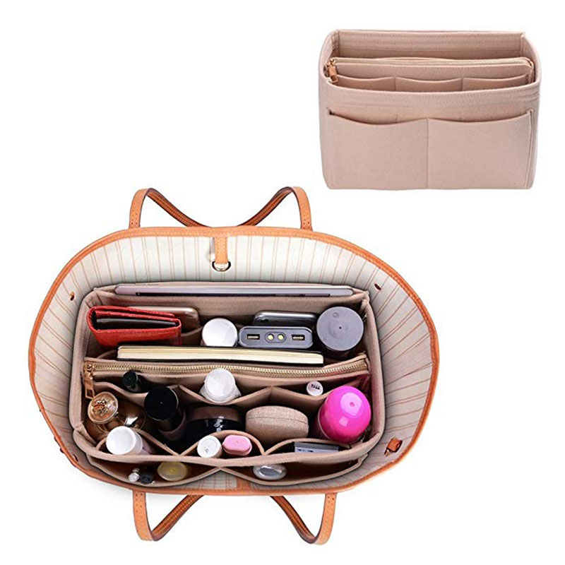 HHYUKIMI Brand Make Up Organizer Felt Insert Bag For Handbag Travel Inner Purse Portable Cosmetic Bags Fit Various Brand Bags