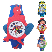 Fashion casual silicone spiderman cartoon kids watches water