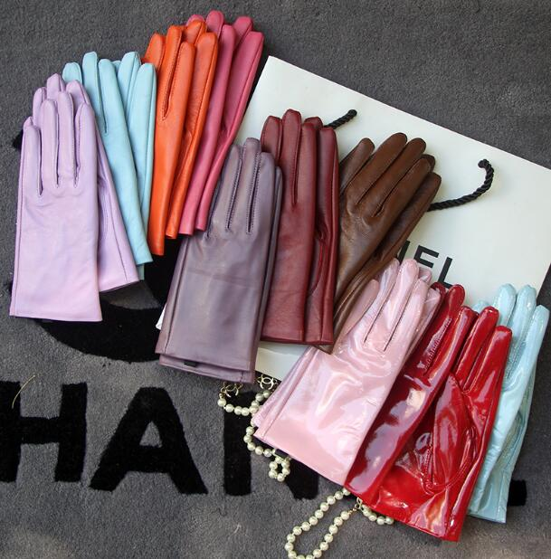 Women's Genuine Leather Brief Glove Lady's Warm Natural Sheepskin Leather Plus Size Fashion Slim Driving Glove R2460