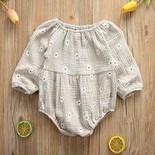 0-24M Newborn Cotton Linen Romper Infant Baby Girl Floral Long Sleeve Romper Tod