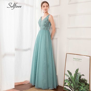 Elegant Women Dress A-Line Beaded Double V-Neck Sleeveless Tulle Maxi Dress Sexy Embroidered Long Party Dress Vestidos 2020 4