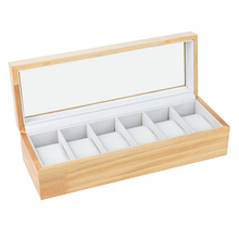 6 Grids Pine Wood Watch Display Box Case Jewelry Storage Organizer Collection new luxury 12 slots wood watch box display case glass top bracelet watch jewelry collection storage organizer caixa de relogios