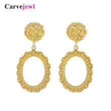 Carvejewl Big Vintage Earrings for Women Matte Gold Silver Geometric Statement Earring 2018 Metal Earing Hanging Fashion Jewelry