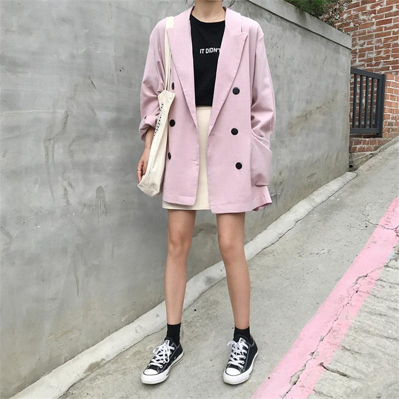 Vintage Solid Chiffon Blazer Women Long Sleeve Double Breasted Office Coat Suit Jacket Loose Outwear Pink Black P520