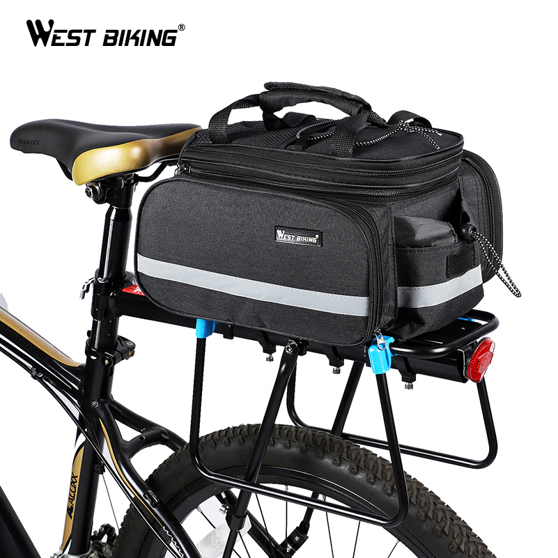 WEST BIKING Bicycle <font><b>Bags</b></font> Large Capacity Waterproof Cycling <font><b>Bag</b></font> Mountain <font><b>Bike</b></font> Saddle Rack Trunk <font><b>Bags</b></font> Luggage <font><b>Carrier</b></font> <font><b>Bike</b></font> <font><b>Bag</b></font> image