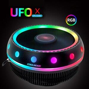 Кулер для процессора 117 мм RGB Настольный CPU воздушный компьютерный кулер LGA/1151/1155/AM3/AM4/FM2 цветной светильник, излучающий бесшумный 3-контактный...