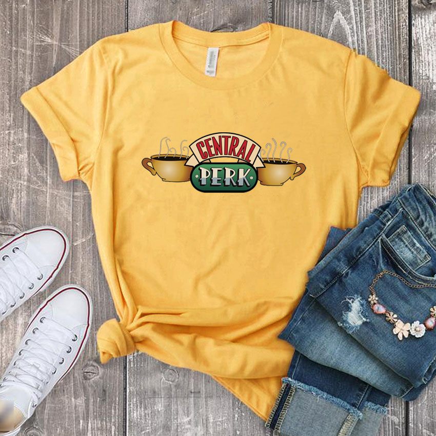 Funny Tee Shirt For Women Central Perk Print Female T-shirt Friends Tops Tees Round Neck Short Sleeve Tshirt Woman Shirts