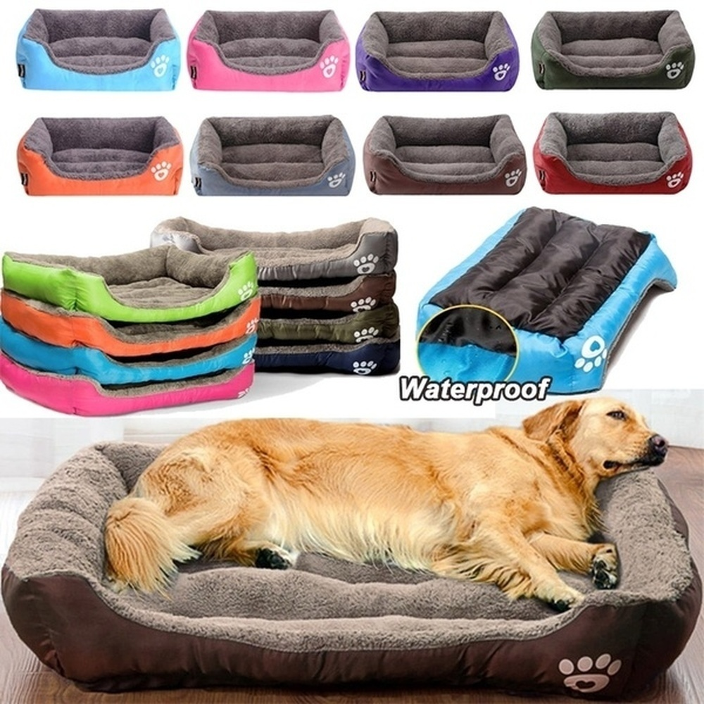 (S-3XL) Large Pet Cat Dog Bed 8Colors Warm Cozy Dog House Soft Fleece Nest Dog Baskets House Mat Autumn Winter Waterproof Kennel 1