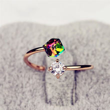 Fashion Rainbow Crystal Adjustable Open Ring Zircon Gemstone Ring Women's Wedding Jewelry Accessories Gift(China)