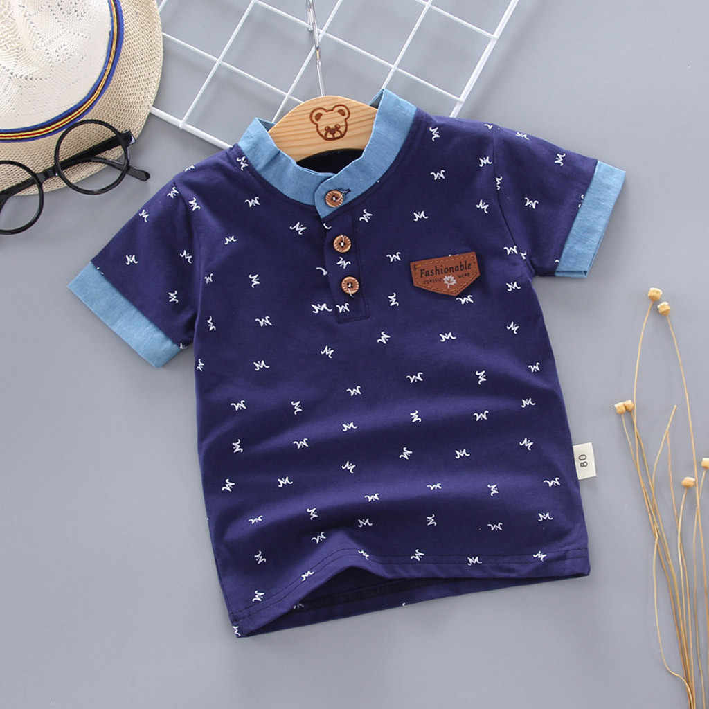 MUQGEW Hot Sale Tee For Toddlers Kids Baby Boys Novelty Tops Costume Print Letter Gentleman Button Shirt Tee Clothes roupas