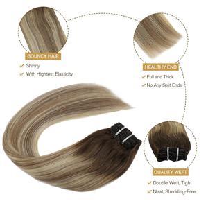 "Image 4 - [27色] ugeatクリップで毛延長14 22 ""人間の髪ダブル描画remy毛の完全なで延長120グラム/7個セット"