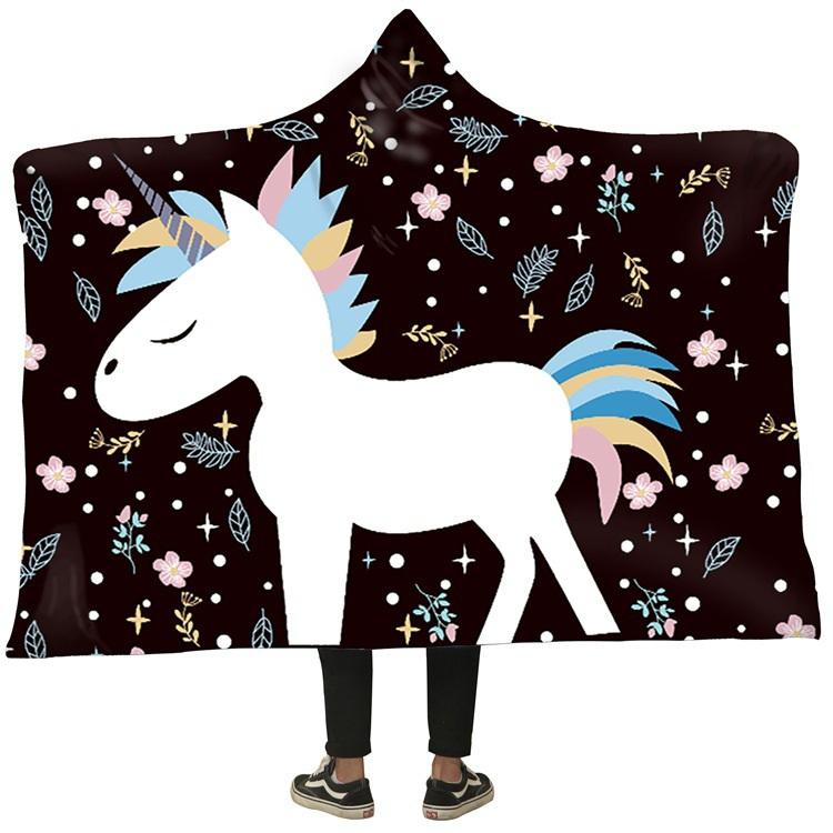 Unicorn Blanket 3D Printed Plush Hooded Blanket Throw Weighted Blankets Warm Thick Fleece Blanket Sweatshirt for Adult Kids