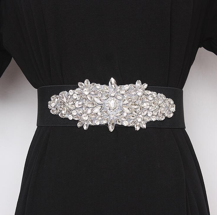 Women's Runway Fashion Blingbling Rhinestone Beaded Cummerbunds Female Dress Corsets Waistband Belts Decoration Wide Belt R2420
