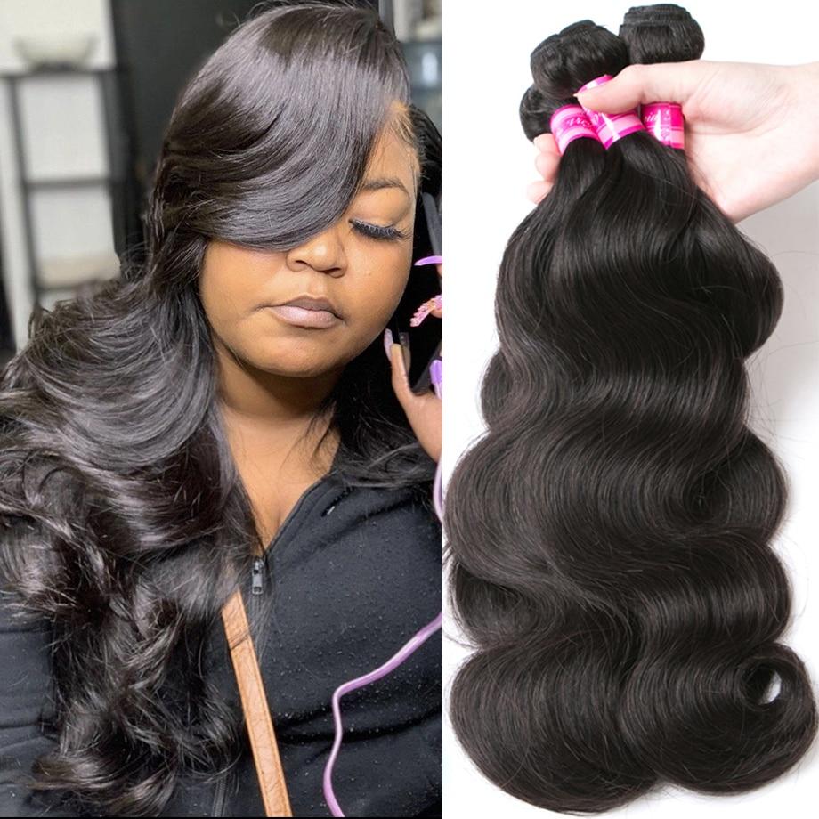 body wave bundles free ship for black women brazilian hair color extension 1 3 4 Bundles 30 inch virgin human hair bundles 1