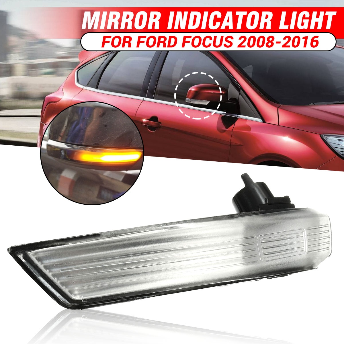 1Pcs Car Right Or Left Mirror Indicator Turn Signal Light Lamp Left/Right Side For Ford For Focus 2008-2016