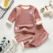 Girls Pajamas Underwear Boys Children's Warm Plus And Thick Soft Comfortable Wo-Piece