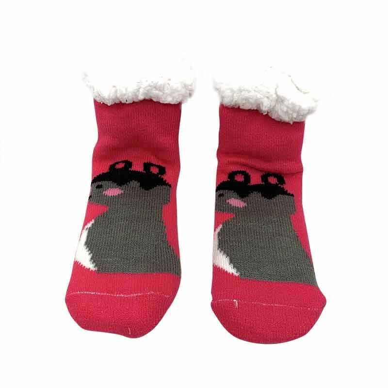 ถุงเท้าเด็กรองเท้าลื่นสัตว์การ์ตูนเด็กฝ้ายฤดูหนาวรองเท้าแตะ Plush Warm Thicken ถุงเท้าเด็กชั้นหลอดถุงเท้าของขวัญ
