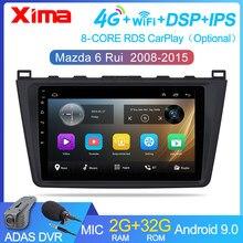 Rádio automotivo 2 din 2g + 32g, android 9.0, para mazda 6 rui wing 2008 2009 2010 2011 2012-2014 wi-fi rádio gps multimídia playe