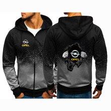 Men's Spring Autumn OPEL Logo Print Hoodies Jackets Man Sweatshirts Casual Gradient Color Zipper Long Sleeve Coats