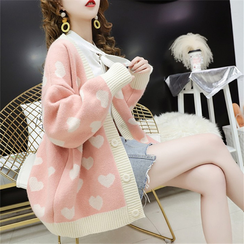 Autumn New Style Cardigan Sweater Women's 2020 Korean-style Loose Thick Heart Very Fairy Of Sweater Students Coat
