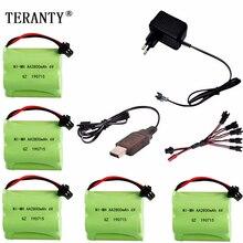 Batería Ni MH 6v 2800mah + cargador USB para juguetes Rc, coches, tanques, camiones, Robots, barcos, pistolas AA 6v, paquete de batería recargable, enchufe SM