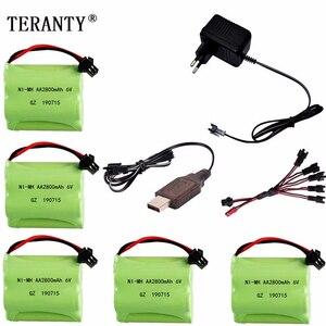 Image 1 - (SM Plug) Ni MH 6v 2800mah Battery + USB Charger For Rc toys Cars Tanks Trucks Robots Boats Guns AA 6v Rechargeable Battery Pack
