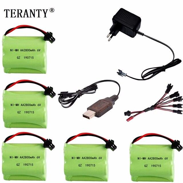 (SM Plug) Ni MH 6v 2800mah Battery + USB Charger For Rc toys Cars Tanks Trucks Robots Boats Guns AA 6v Rechargeable Battery Pack