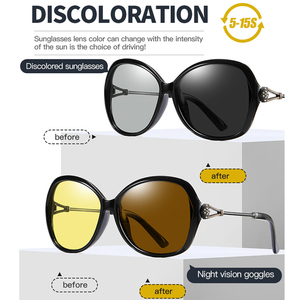 Image 5 - VCKA 特大女性デイナイトビジョンサングラス偏光フォトクロミック変色レンズアンチグレア黄色ゴーグル